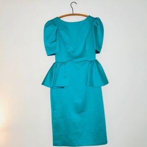 Vintage Retro 80's Emerald Green Peplum Prom Dress
